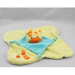 Doudou plat girafe jaune bleu orange BABY SMILE