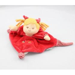 Doudou plat poupée rouge rayé STERNTALER
