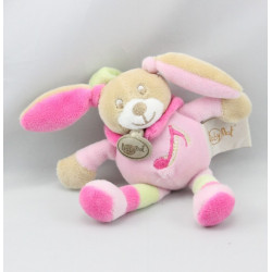 Doudou attache tétine musical lapin rose vert BABY NAT