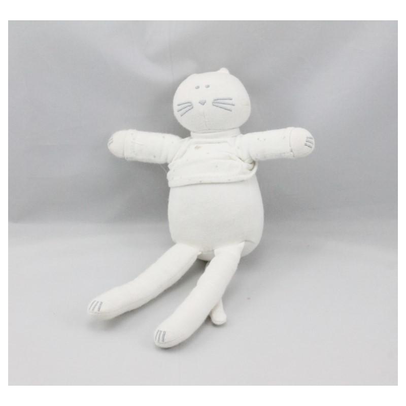 Doudou chat blanc pois PETIT BATEAU