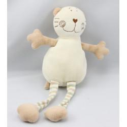 Doudou chat blanc beige kaki MINIFEET