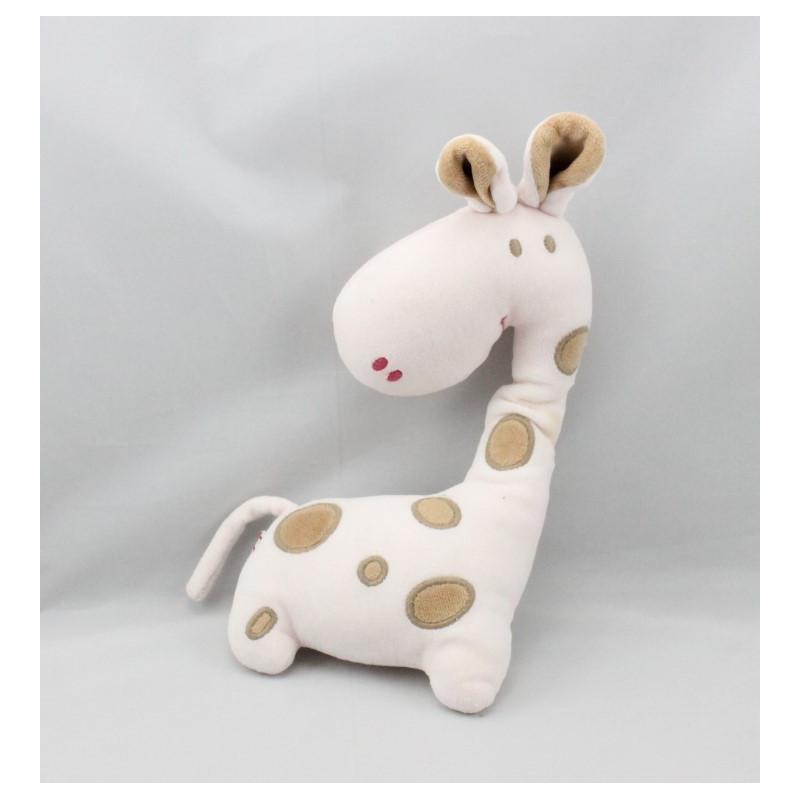 Doudou girafe blanche beige DPAM