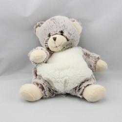 Doudou  ours blanc marron tout doux HISTOIRE D'OURSURS