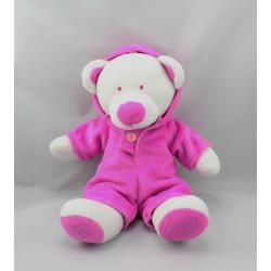 Doudou ours blanc combinaison capuche rose