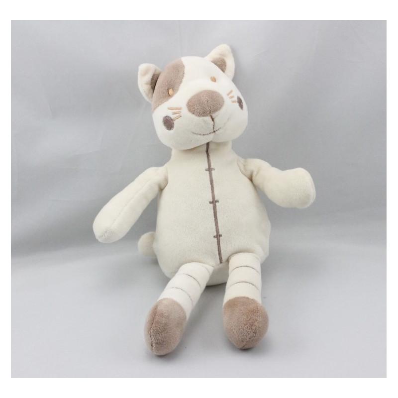 Doudou chat blanc marron cocard VERTBAUDET