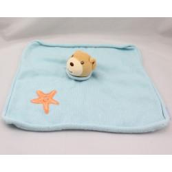 Doudou plat ours bleu étoile orange KALOO