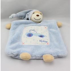 Doudou plat ours bleu voiture KALOO