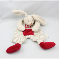 Doudou plat lapin beige rouge 123 lapins LINVOSGES MOULIN ROTYGES MOULIN ROTY