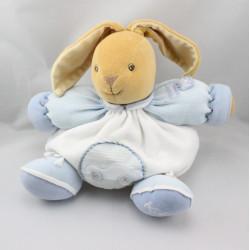 Doudou lapin blanc bleu voiture KALOO