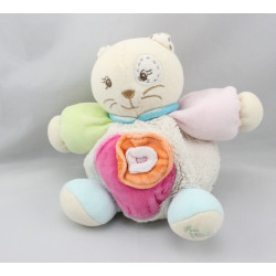 Doudou chat blanc rose vert bleu orange KALOO