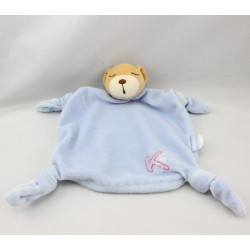 Doudou Plat ours endormi bleu K rouge brodé KALOO