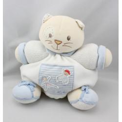 Doudou patapouf chat blanc bleu enfant KALOO