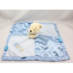 Doudou plat couverture bleu satin Winnie l'ourson Cute Disney
