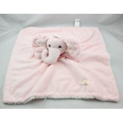 Doudou plat couverture éléphant rose PICCOLO BAMBINO