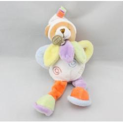 Doudou et compagnie hochet ours blanc col pétale jaune mauve bleu Nuage