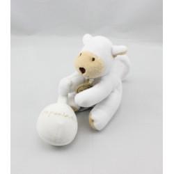 Doudou et compagnie attache tétine chein blanc beige Mon premier doudou