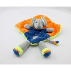 Doudou plat éléphant orange bleu cirque NICOTOY KITCHOUN