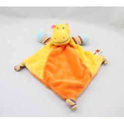 Doudou plat hippopotame orange jaune rayures NICOTOY
