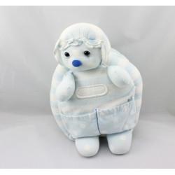 Doudou ours bébé blanc salopette bleu bonnet JACADI
