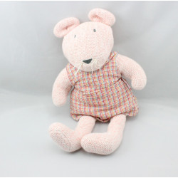 Doudou souris rose robe vichy laine COROLLE