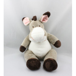Doudou cheval ane gris marron blanc Little Friends NICOTOY