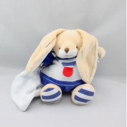 Doudou et compagnie lapin bleu blanc rouge mouchoir marin