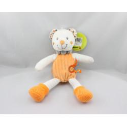 Doudou ours blanc orange oiseau NICOTOY