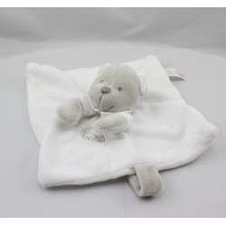 Doudou plat ours blanc gris NICOTOY