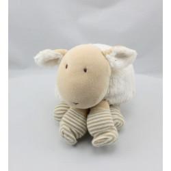 Doudou mouton blanc rayé NATALYS