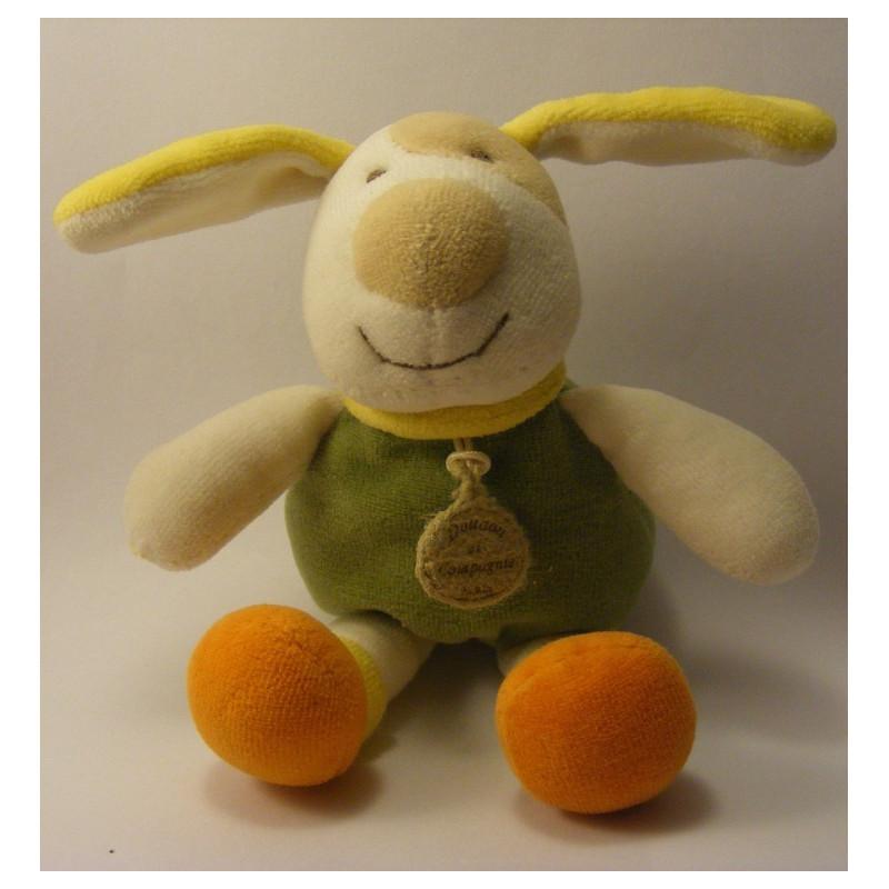 Doudou chien corp vert pattes oranges DOUDOU ET COMPAGNIE