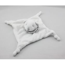 Doudou plat ours blanc col rayé gris GRAIN DE BLE