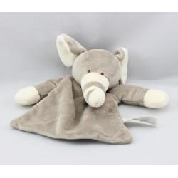 Doudou plat éléphant gris trompe à rayures CHARLY ET CIE