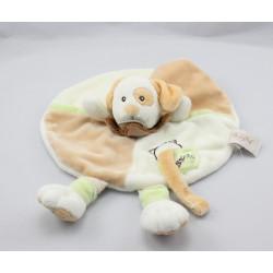 Doudou plat chien beige vert blanc cocard Biscuit BABY NAT