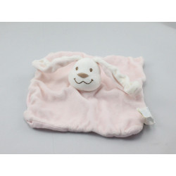 Doudou plat hochet lapin blanc rose KIMBALOO