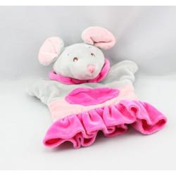 Doudou plat marionnette souris grise rose AJENA