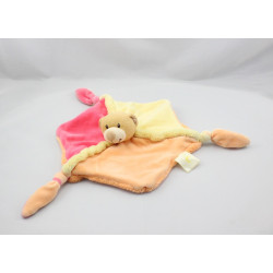 Doudou plat ours rose jaune orange BABY LUNA