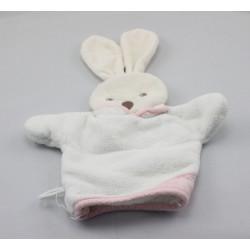 Doudou marionnette éponge lapin blanc rose KALOO