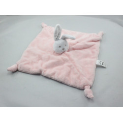Doudou plat lapin rose blanc SPAM IMPORT