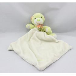 Doudou ours vert écharpe rayé mouchoir BABYSUN