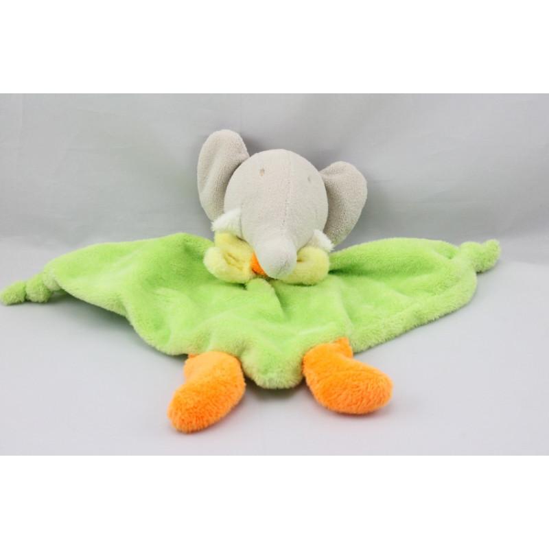 Doudou plat éléphant gris vert orange jaune NOUNOURS