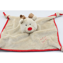 Doudou plat renne marron rouge My First Christmas