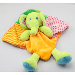Doudou plat éléphant vert orange rose TILAPIN CASINO