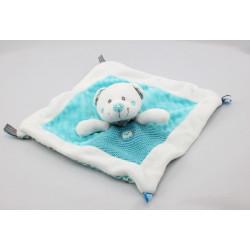 Doudou plat ours blanc bleu pois oiseau NICOTOY