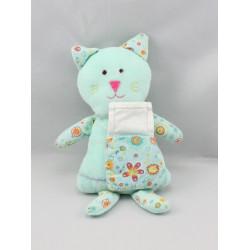 Doudou chat bleu fleurs sac DMC