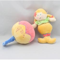 Doudou musical poupée siréne jaune rouge BABY LUNA