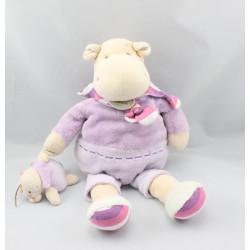 Doudou et compagnie hippopotame Léo blanc mauve et son bébé
