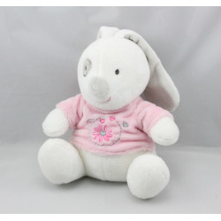 Doudou lapin blanc rose fleurs GIFI