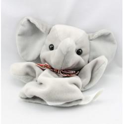 Doudou marionnette éléphant noeud carreaux rouge NICOTOY