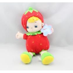 Doudou poupée fraise rouge AURORA BABY