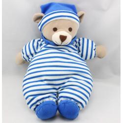 Doudou ours bleu rayé NICO DINGO